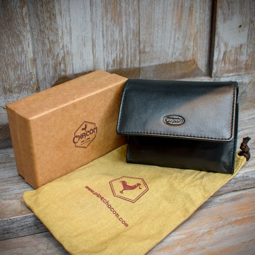 Chacom | Pipe Tobacco Pouch - Box | Black Leather (CC020 N)