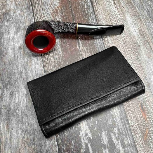 Dr. Plumb | Black Leather Roll-up Pipe Tobacco Pouch | 25516