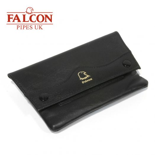 Falcon |Black Leather  Handrolling Pouch | 546