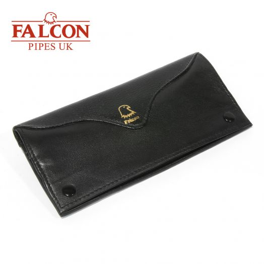 Falcon | Black Leather Handrolling Pouch | 567