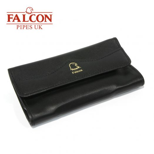 Falcon | Black Leather Handrolling Pouch | 684B
