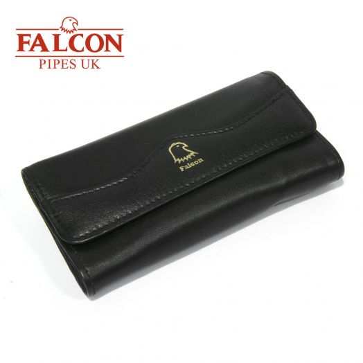 Falcon | Black Leather Pipe Smoker's Roll-Up Pouch | 684
