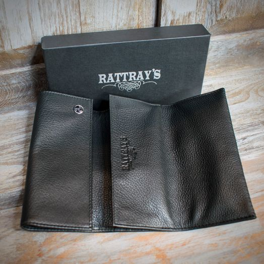 Rattray's Pipe Tobacco Pouch | Black Leather Roll-Up | Large (11547)